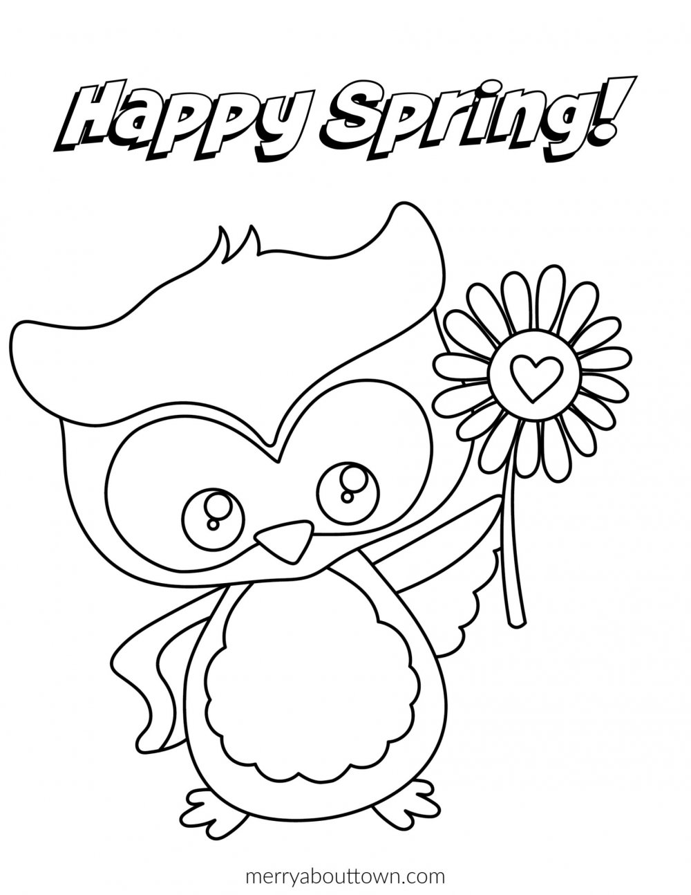 Happy Spring Owl printable Coloring Sheet