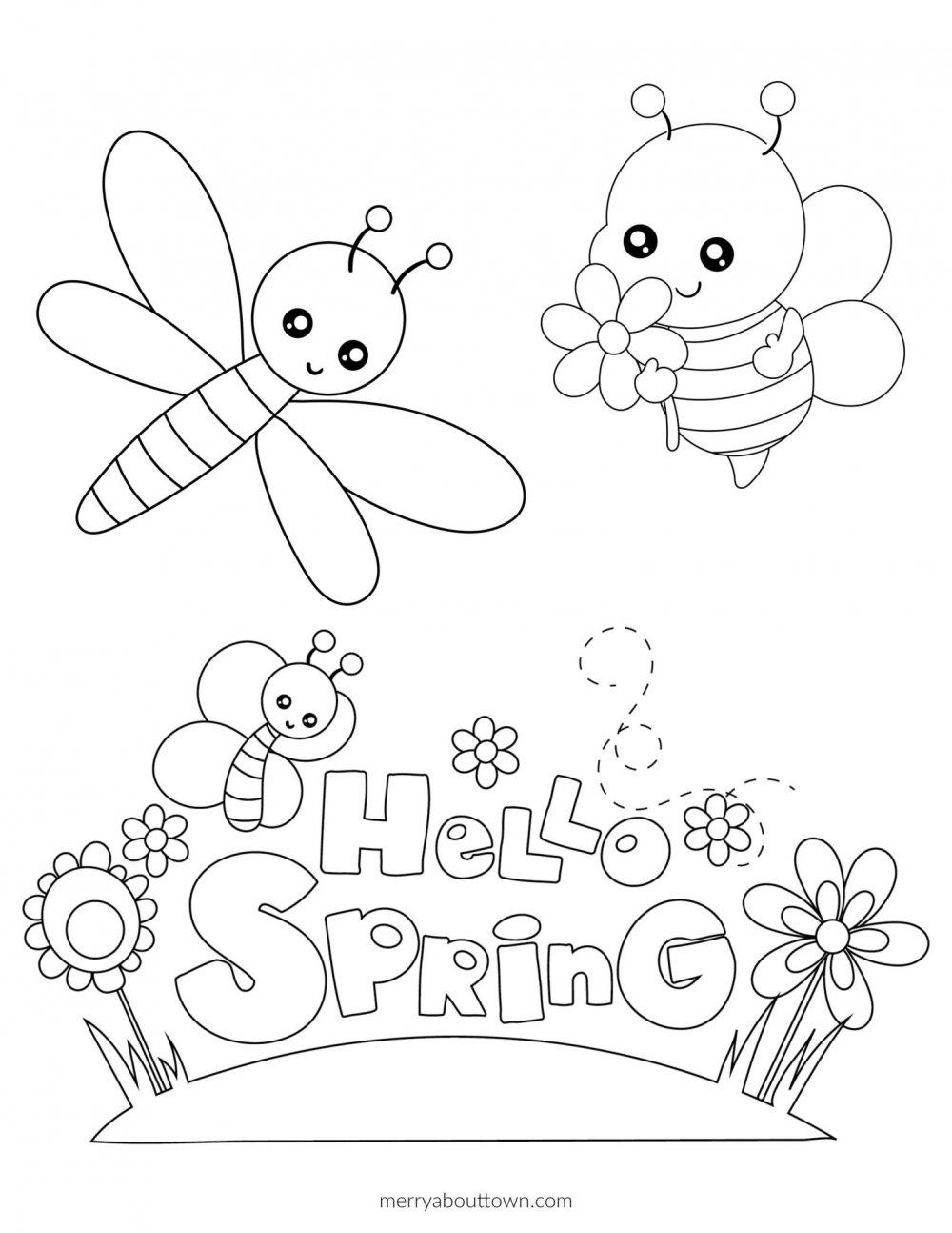 Hello Spring Printable Coloring Sheet