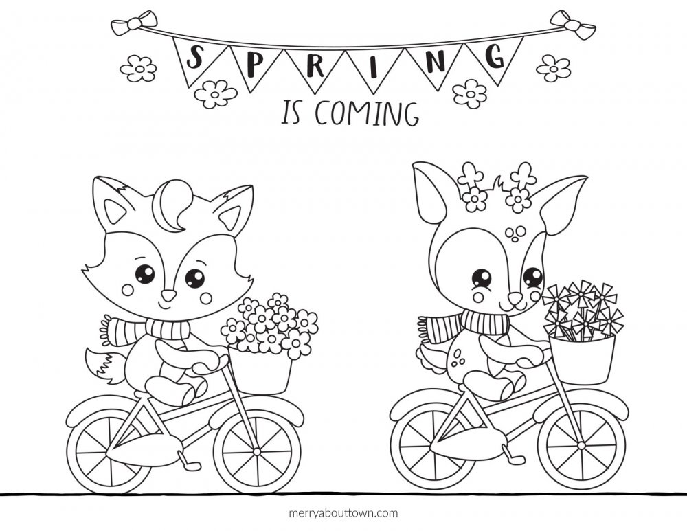 Sring is Coming Free Coloring Sheet with fox and deer on bicycles